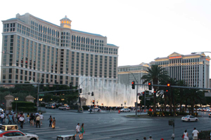 Las Vegas Strip and Fountains of Bellagio