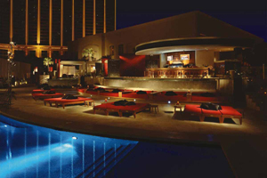 Mandalay Bay and Moorea beach at night at Las Vegas Strip