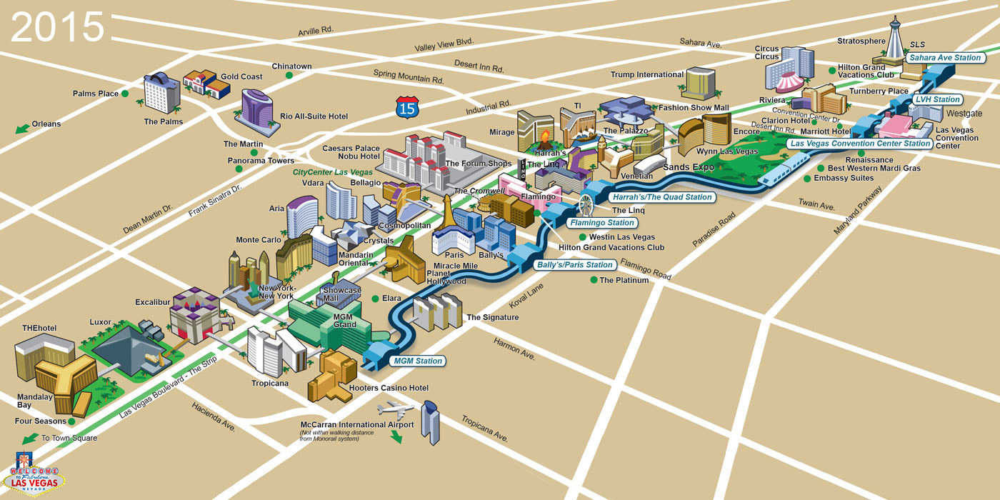 Map of the Las Vegas Strip with monorail