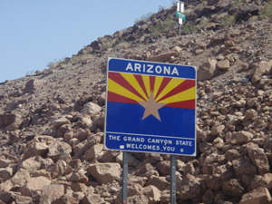 Arizona state sign, grand canyon from Las Vegas