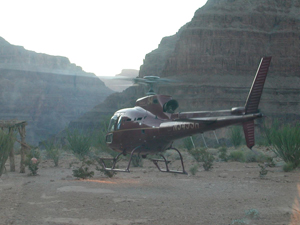 Helicopter sunset in grand canyon