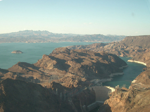Helicopter over Hoover dam and Lake Mead in Las Vegas